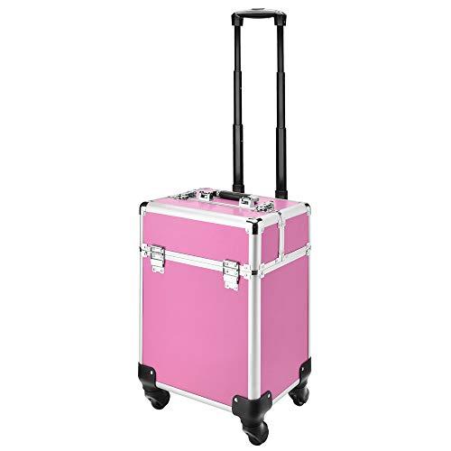 AMASAVA 2 in 1 Kosmetikkoffer Schminkkoffer Beauty Make-up Case Kosmetik Trolley Händback-Kosmetikkoffer aus ABS und Aluminium mit Schlössern abschließbar beweglich Rosa 34 x 24 x 41 cm -