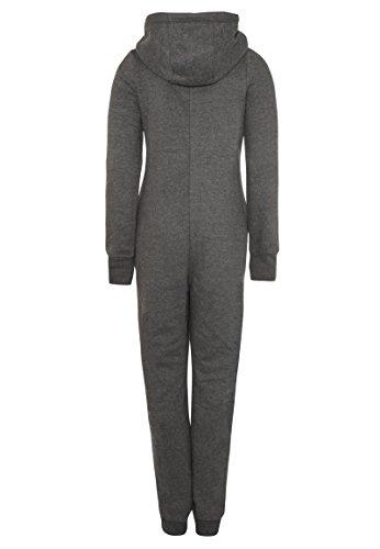 Eight2Nine Damen Sweat Overall | Kuscheliger Jumpsuit | Einteiler aus bequemen Sweat-Material einfarbig dark-grey1