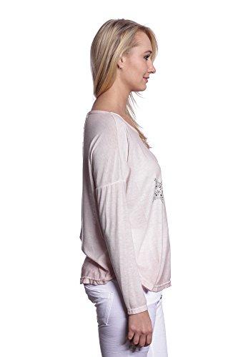 Abbino IG003 Damen Shirts Tops - Made in Italy - Viele Farben - Übergang Frühling Sommer Herbst Festlich Weich Komfortabel Dynamisch Damenshirts Damentops Unifarbe Komfortable Lässig Rosa (Art. 1563-1)