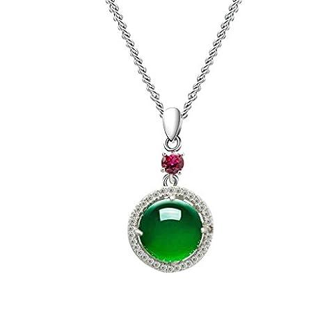 BeyDoDo Modeschmuck Damen Halskette mit Anhänger Sterling Silber Zirkonia Rund mit Kristall Grün (Alte Frau Kostüm Diy)
