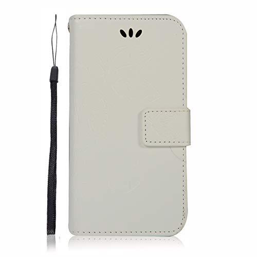 Carols Coque Samsung Galaxy A6 Plus 2018, Motif de Fleurs de Papillon en Relief Motif Etui Housse Cuir PU Portefeuille Flip Case Cover - Blanc