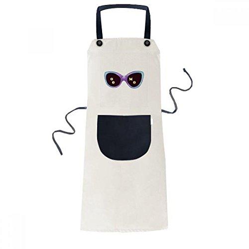 beatChong Eingefärbte Illustration Muster Sun-Glas-Koch Küche Beige Adjustable Latzschürze Taschen Frauen Männer Chef-Geschenk