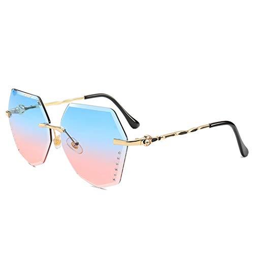 WSXCDEFGH Diamant Form Sonnenbrille Frauen Randlose Übergroße Sonnenbrille Schneidelinse Gold Metallrahmen Sonnenbrille Damen Brillen Gold Rim Band