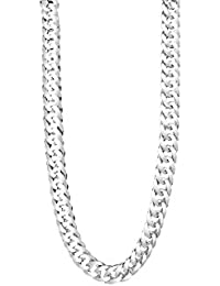 TAIPAN Silver Chain, Mens Double Curb Chain, shiny 60 cm, 6 mm real 925 Sterling Silver, Necklace for Him incl. Jewellery certification: