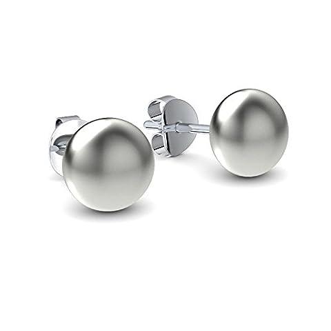 Kleine Ohrstecker Silberohrstecker Süßwasser Perlenohrstecker - inkl. Luxusetui + - Ohrringe Ohr Stecker Perle Ohr Ringe Silber Perlen Ohrringe Ohr Stecker FF129 (Acht Knoten-knopf)