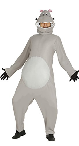Nilpferdkostüm für Erwachsene Grau Hippo Tier Herrenkostüm, (Hippo Kostüm)