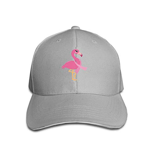 Breast Cancer Fleece (zexuandiy Unisex Cotton Sandwich Peaked Cap Adjustable Baseball Hats Breast Cancer Support pink Flamingo Variegated Gray)