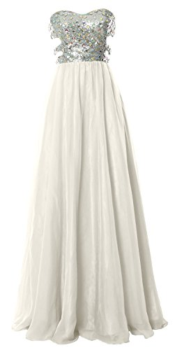 MACloth Fitted Sweetheart Long Cutout Sequin Prom Evening Dress Formal Ball Gown (EU56, Marfil)