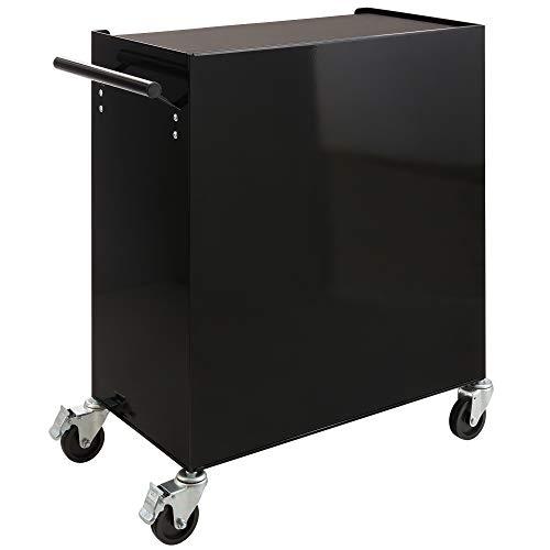 Arebos Werkstattwagen 4 Fächer + großes Fach/mit Antirutschmatten / 2 Rollen mit Festellbremse (Schwarz) - 5