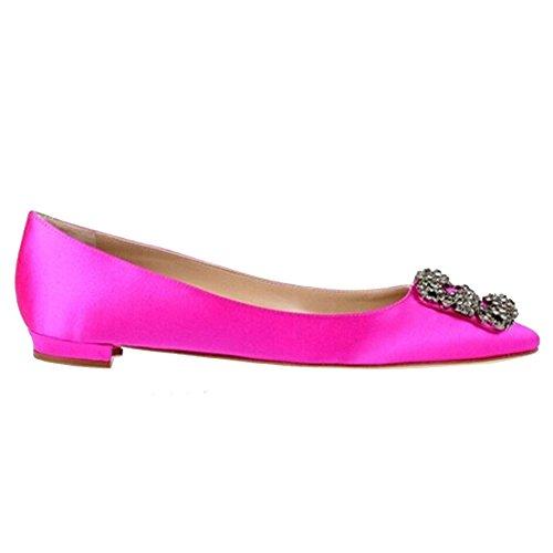 EKS Damen Spitze Diamonds Decoration Low Heel Fashion Flats Rosa