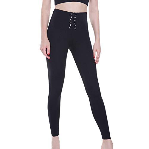U.Expectating Sporthose Damen High Waist Sport Leggings Elastische Einfarbige Yoga-Verbandhose Lange Laufhose -
