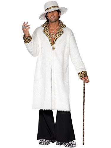 Kostüm Xxl Pimp - Luxuspiraten - Herren Männer 70er Jahre Pimp My Zuhälter Kostüm mit Pelzimitat Jacke, Hut und Hose, perfekt für Karneval, Fasching und Fastnacht, M, Weiß