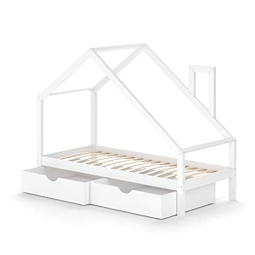 VitaliSpa Funktionsbett Kinderbett Nicole 90x200 mit 2 Schubladen Holz Haus Spielbett Hausbett weiß