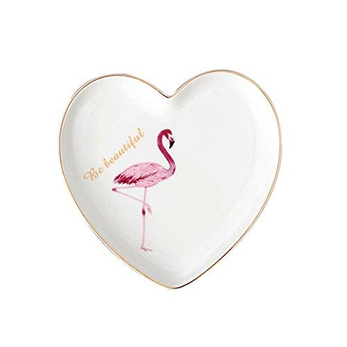 socosy Keramik Pink Flamingo Teller Speiseteller Dessertteller Vorspeise Teller Brot Platte Candy Salat Gericht für Party Restaurant 17,8cm (Herz) Left