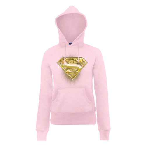 DC Comic Dc Comics Official Superman Bling Logo Womens Hooded Sweatshirt - Sweat-shirt à capuche - Femme Rose - Rose clair