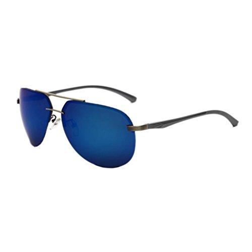 SUNGLASSES GJY Aviator Polarized Sonnenbrillen Herren mit Etui - UV 400 Schutzrahmen aus Metall (Color : Tea)