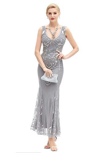 d, Lange Kleider, Gatsby-Motto-Party-Nacht, sexy Frauen Flapperkleid Abschlussball - - Mittel ()