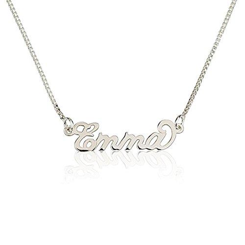 Namenskette Namensanhänger 925er Silber- Personalisiert mit Ihrem eigenen Namen (45 CM)