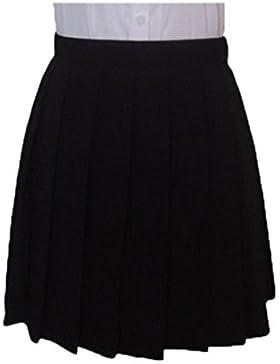 QIYUN.Z Moda Cosplay Japones Plisadas Alta Cintura Uniformes Estudiantiles Faldas De Color Solido