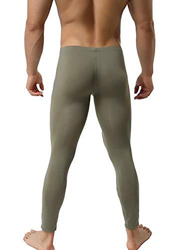 Woxuan transparente Hose enganliegend Herren Leggings Olive Grün Tight Leggings (L/XL)