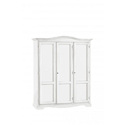 EsteaMobili Chambre Lit Armoire 3 Portes Arte Povera laqué Blanc Mat – comme Photos