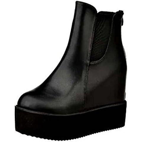SHIXR Plataforma de suela gruesa invierno se?oras despu¨¦s de a?adir tacones cu?as nude cremallera botas, botines , black , 38