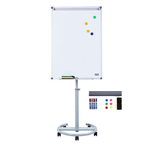 S SWANCROWN Mobile Whiteboard Magnetisch Flipchart mit Rundfuß, 100X70cm