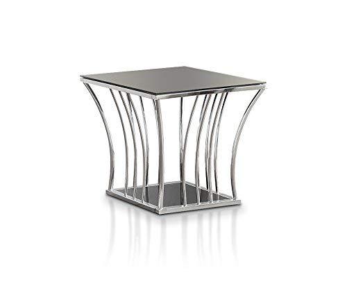 Häuser: innen + iohomes Reens Collection Schwarz gehärtetem Glas Ende Tisch, schwarz - Chrome Moderne Beistelltisch