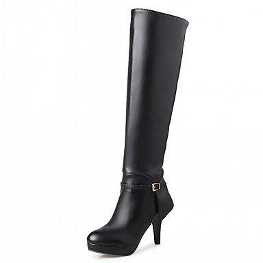 Rtry Femmes Chaussures Pu Similicuir Automne Hiver Confort Nouveauté Mode Bottes Bottes Talon Stiletto Bout Rond Sur Genou Bottes Boucle Pour Partie Us9.5-10 / Eu41 / Uk7.5-8 / Cn42
