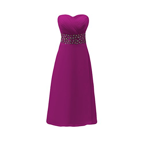 Bridal_Mall Damen Herzform ohne Traeger Cocktailkleider Knielang Strass Beaded Ballkleider Abendkleider Grape