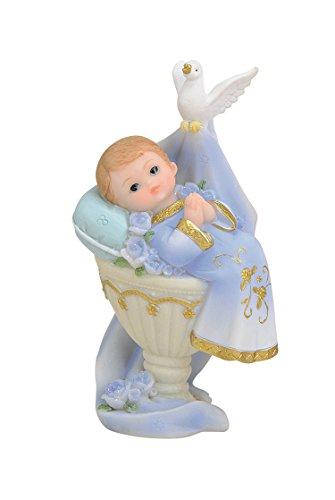 Wurm Tortenaufsatz Tortenfigur Dekofigur Baby Tauffigur Taufe Geburt Taufbecken Taufbrunnen   11 cm (Junge - hellblau)