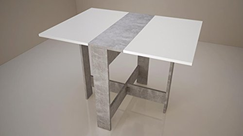 Mesa de comedor plegable Curry de 4 a 6 personas, estilo contemporáneo, decoración de hormigón, 103 x 73 cm, color blanco