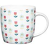 "Kitchen Craft 425 ml ""Folky Floral"" Fine Bone China Barrel Shaped Folky Mug, Multi-Colour"