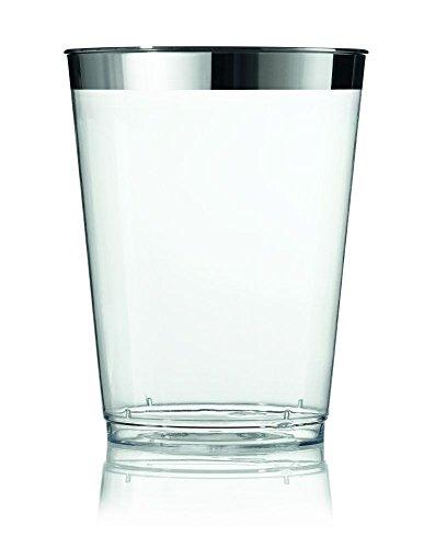 Sovie Servingware | Wasserglas 9,9cm Transparent mit Silberrand aus Plastik | Einweg Glas edel Trinkglas | 12 Stück
