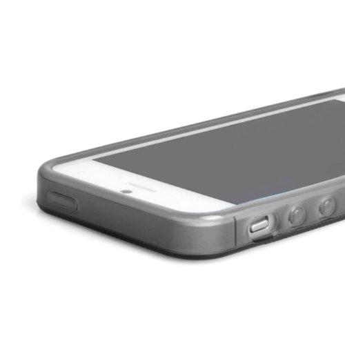 Flip-Case APPLE IPHONE 5S / IPHONE SE [Le Clap Touch Premium] [Weiss] von MUZZANO + STIFT und MICROFASERTUCH MUZZANO® GRATIS - Das ULTIMATIVE, ELEGANTE UND LANGLEBIGE Schutz-Case für Ihr APPLE IPHONE  Grau