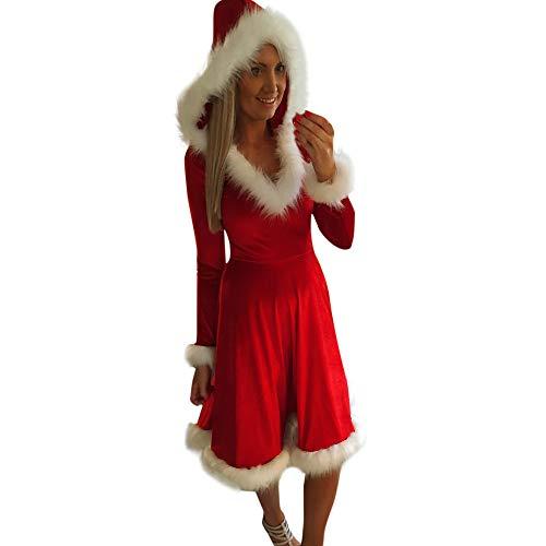 Huihong Weihnachten Kleider Mama Und Ich Mit Kapuze Kunstpelzkragen Kleid Langarm Familie Passende Outfits Cocktailkleider Partykleider (Mama, S/EU Size:40)