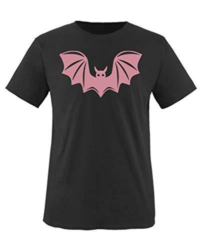 Comedy Shirts - Halloween Fledermaus - Mädchen T-Shirt - Schwarz/Rosa Gr. 152-164