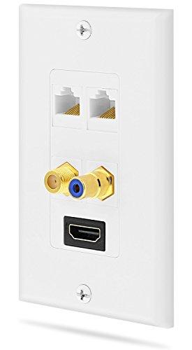 Dual-port-wall Plate (Fosmon Wandpaneel (mit vergoldetem High Speed HDMI-Port, eingebauter Ethernetbuchse, 2 RJ45-Ethernet-Ports, (W) Coaxial-Ports und RCA-Audio-Port), Weiß)
