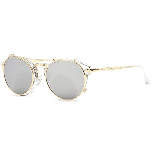 b017db6a076 Dollger Steampunk Sunglasses Flip Up Vintage Round Designer Weird Sunglass  Mirror Lens(Gold Lens+Gold Frame) - Buy Online in Oman.
