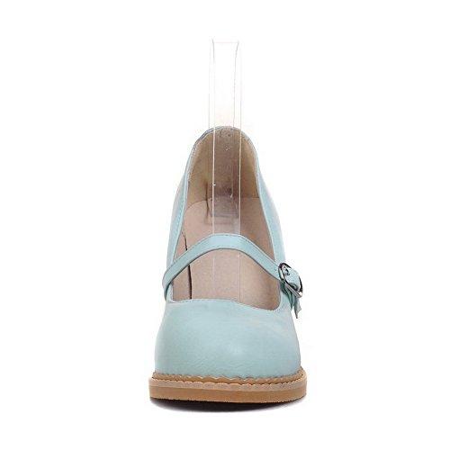 VogueZone009 Damen Weiches Material Schnalle Rund Zehe Mittler Absatz Rein Pumps Schuhe Blau