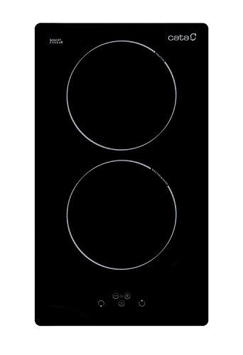 LUXUS Domino Induktionskochfeld Cata/2 Zonen/Autarkes Kochfeld 30cm mit Boosterfunktion/Sensorsteuerung/Timer/Digitalanzeige der 9 Heizstufen/Kindersicherung Restwärmeanzeige für jede Kochzone
