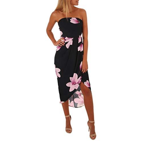 Tuniken Streetwear Bluse,Damen Weg von der Schulter Boho Kleid Lady Beach Sommer Sommerkleid Maxikleid (Black, S) (Schwarze Kleid Aus Schulter Der Kleine)