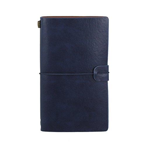 Vintage Leder Journal nachfüllbar Reisende Notebook handgefertigt Reisetagebuch Notizen Notitzbuch Skizzieren Zeichnen mit Kreditkartenfächer und PVC Reißverschluss Fach 7.87