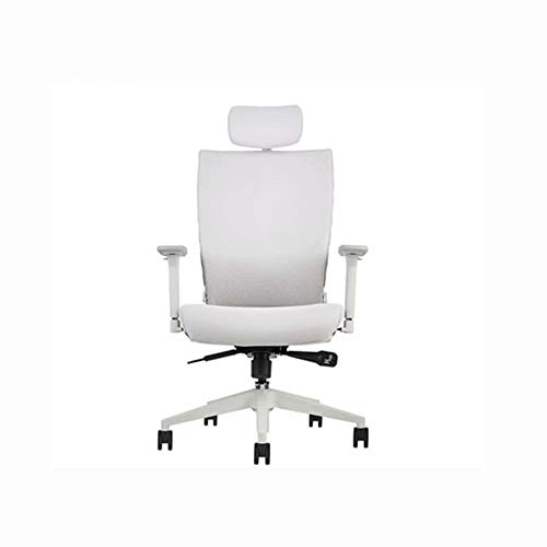 JM-office chair Computer Executive Meeting Bürostuhl mit hoher Rückenlehne, modernes und ergonomisches Design, verstellbare Sitzhöhe, Neigungsmechanismus, rotierend in Weiß -
