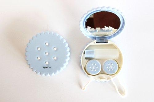 Kontaktlinsenbehälter Spiegel (Kontaktlinsenbehälter Aufbewahrungsbehälter Etui Set Spiegel Motiv Keks Hellblau NEU)
