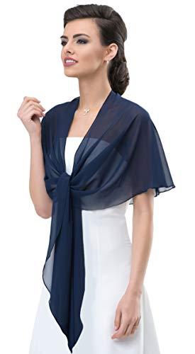 Chiffon Stola Chiffonschal perfekt zu jedem Brautkleid - Abendkleid, Hochzeit Abend Gala Empfang - RUTSCHT NICHT - MARINEBLAU (tiefes, sehr dunkles Blau - Nachtblau) - ca. 245cm lang (Kleid Marine-blau Und Weiß Frauen)