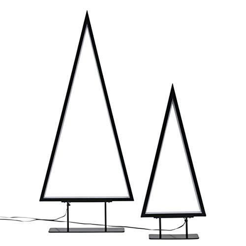 Pureday Weihnachtsdeko - LED Tannenbaum 2er Set - Beleuchtete Tannbenbaum-Silhouette - Metall - Schwarz