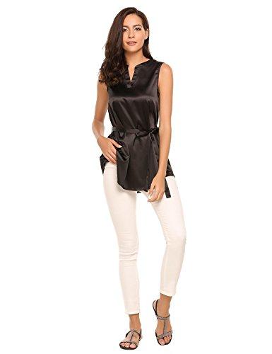 ACEVOG Tops Damen Armlos Shirt V-Ausschnitt Bluse Tunika mit Gürtel Oberteil Tank in 3 Frabe Schwarz