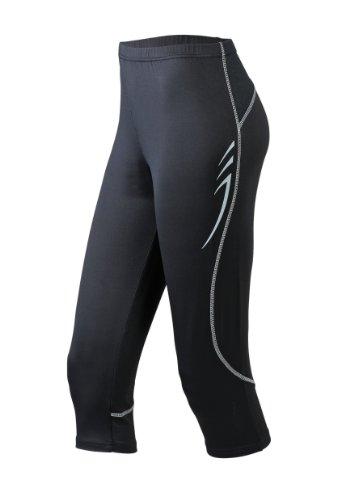 men Sport Legging Running 3/4 Tights schwarz (black) Medium (Damen Capri Tights)
