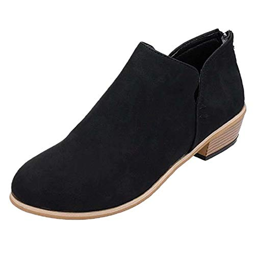 Botines para Mujer, Cuero Tacon Bajos Botas 4 CM Comodos Fiesta Boda Otoño Negro 42